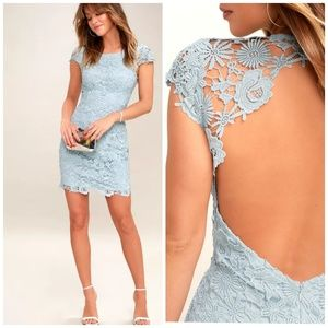 Lulu's Romance Language Light Blue Backless Lace